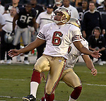 San Francisco 49ers kicker Jose Cortez (6) makes kick to win game in overtime on Sunday, November 3, 2002, in Oakland, California. The 49ers defeated the Raiders 23-20 in an overtime game.