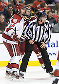 Alex Fallstrom (Harvard - 16), Drew Leblanc - The Boston College Eagles defeated the Harvard University Crimson 4-1 in the opening round of the 2013 Beanpot tournament on Monday, February 4, 2013, at TD Garden in Boston, Massachusetts.