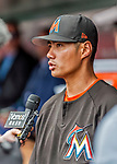 3 April 2017: Miami Marlins pitcher Wei-Yin Chen is interviewed prior to Opening Day against the Washington Nationals at Nationals Park in Washington, DC. The Nationals defeated the Marlins 4-2 to open the 2017 MLB Season. Mandatory Credit: Ed Wolfstein Photo *** RAW (NEF) Image File Available ***
