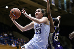 29 December 2015: Duke's Rebecca Greenwell (23) and Western Carolina's Ace Easter (22). The Duke University Blue Devils hosted the Western Carolina University Catamounts at Cameron Indoor Stadium in Durham, North Carolina in a 2015-16 NCAA Division I Women's Basketball game.
