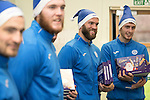 St Johnstone players took some festive cheer to Fairview School in Perth gving out selection boxes and gifts to the pupils&hellip;Pictured from left, Paul Paton, Zander Clark, Alan Mannus and Joe Shaughnessy<br /><br />Picture by Graeme Hart.<br />Copyright Perthshire Picture Agency<br />Tel: 01738 623350  Mobile: 07990 594431