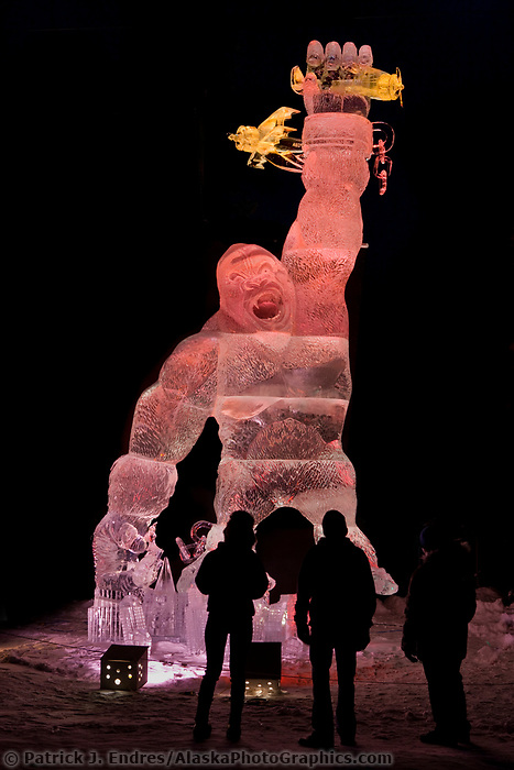 "Multi-block sculpture titled ""King Kong and beauty of the beast"" for the 2009 World Ice Art Championships in Fairbanks, Alaska. Team members: Mario Amegee, Steve Armance, Chan Kitburi, Dean Murray. 5th Place in the realistic category."