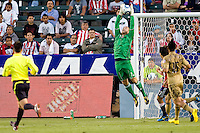 Philadelphia Union goalkeeper Chris Seitz (1) leaps for a save. The Philadelphia Union and CD Chivas USA played to 1-1 draw at Home Depot Center stadium in Carson, California on Saturday evening July 3, 2010..