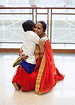 Deepali Sharma hugs her son outside of the during the International Women's Day Festival in Baker Ballroom on Sunday, March 19, 2017. Deepali and her son were part of the international fashion show portion of the festival. © Ohio University / Photo by Kaitlin Owens