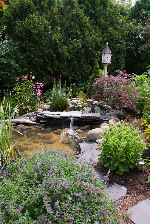 Water Feature Focal Point Of Garden With Birdhouse Plant Flower Stock Photography