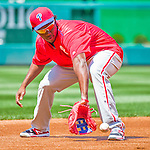 23 May 2015: Philadelphia Phillies infielder Maikel Franco fields practice grounders prior to a game against the Washington Nationals at Nationals Park in Washington, DC. The Phillies defeated the Nationals 8-1 in the second game of their 3-game weekend series. Mandatory Credit: Ed Wolfstein Photo *** RAW (NEF) Image File Available ***
