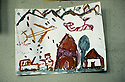 France 1989 <br /> In the military camp of Lastic, the arrival of Iraqi Kurdish immigrants, paintings of bombing by the children  <br /> France 1989<br /> L'arrivee au camp militaire de Lastic des immigrants kurdes irakien, peintures de bombardement par les enfants