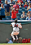 14 September 2008: Cleveland Indians' catcher Sal Fasano is unable to reach an infield pop-up during a game against the Kansas City Royals at Progressive Field in Cleveland, Ohio. The Royal defeated the Indians 13-3 to take the 4-game series three games to one...Mandatory Photo Credit: Ed Wolfstein Photo