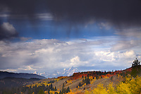 Autumn Thunderstorm, Grand Tetons,  Fall Colors, Bridger Teton National Forest, Jackson Hole Wyoming,
