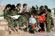 March 1982, Lebanon: in Rashidiya Camp, the most south Palestinian camp of the country. Here children in military clothes are being trained under strict army discipline.