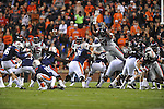 Auburn kicker Cody Parkey (36) kicks a field goal over Ole Miss' Terrell Brown (57) at Jordan-Hare Stadium in Auburn, Ala. on Saturday, October 29, 2011. .