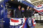 Wilmington, DE - January 17, 2009 -- United States President-elect Barack Obama (2nd-R) Vice President-elect Joe Biden (L), Obama's wife Michelle (R), and Biden's wife Jill board the train as they leave Wilmington, Delaware, where Obama picked up Biden on the Whistle Stop Train Tour on Saturday, January 17, 2009. The ceremonial trip will carry President-elect Obama, Vice President-elect Biden and their families to Washington for their inaugurations with additional events in Philadelphia, Wilmington and Baltimore. Obama will be sworn in as the 44th President of the United States of January 20, 2009. .Credit: Kevin Dietsch - Pool via CNP