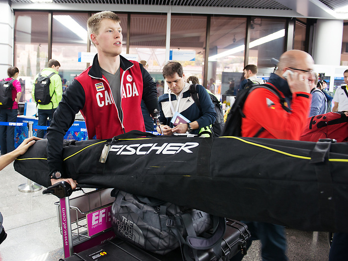 Sochi, RUSSIA - Mar 4 2014 -  Alex Arendz from Canada's Nordic team arrives prior to the 2014 Paralympics in Sochi, Russia.  (Photo: Matthew Murnaghan/Canadian Paralympic Committee)