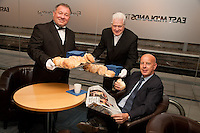 Pictured handing out free bacon butties to promote East Midlands Trains complimentary breakfast for First Class passengers are the singing butlers Alberto and Maxwell with Dave Styring from Hilton, Derbyshire