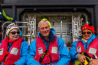 Antarctica expedition aboard the Hurtigruten FRAM ship. Passengers at Half Moon Island.