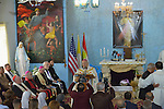 Bishop Shlemon Warduni, the auxiliary bishop of the Patriarchate of Babylon, speaks during a Mass in Inishke, Iraq, on April 10, 2016. Bishop Warduni called on Cardinal Timothy Dolan, the archbishop of New York and chair of the Catholic Near East Welfare Association, who was present during the Mass, to pressure the U.S. government to end the violence in the country.<br /> <br /> Cardinal Dolan came to Iraqi Kurdistan with other church leaders to visit with Christians and others displaced by ISIS. Along with Bishop Warduni and other church leaders, he celebrated Mass in the Chaldean Catholic church with local residents and displaced Christians living in local villages.<br /> <br /> CNEWA is a papal agency providing humanitarian and pastoral support to the church and people in the region.