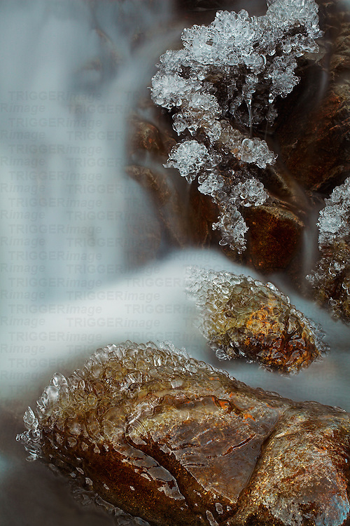 Ice on rocks, Hause Gill, Lake District, Cumbria, England, UK