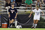 29 September 2011: Virginia's Lauren Alwine (9) is shadowed by Duke's Laura Weinberg (16). The Duke University Blue Devils and the University of Virginia Cavaliers played to a 0-0 tie after overtime at Koskinen Stadium in Durham, North Carolina in an NCAA Division I Women's Soccer game.