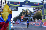 Race leader Nairo Qintana (COL) Movistar Team crosses the finish line of Stage 7 of the 2017 Tirreno Adriatico a 10km Individual Time Trial at San Benedetto del Tronto, Italy. 14th March 2017.<br /> Picture: La Presse/Gian Mattia D'Alberto | Cyclefile<br /> <br /> <br /> All photos usage must carry mandatory copyright credit (&copy; Cyclefile | La Presse)