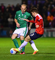 Lincoln City's Bradley Wood under pressure from York City's Alex Whittle<br /> <br /> Photographer Andrew Vaughan/CameraSport<br /> <br /> The Buildbase FA Trophy Semi-Final First Leg - York City v Lincoln City - Tuesday 14th March 2017 - Bootham Crescent - York<br />  <br /> World Copyright &copy; 2017 CameraSport. All rights reserved. 43 Linden Ave. Countesthorpe. Leicester. England. LE8 5PG - Tel: +44 (0) 116 277 4147 - admin@camerasport.com - www.camerasport.com