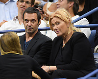 FLUSHING NY- SEPTEMBER 06: Hugh Jackman and Deborra-Lee Furness are seen watching Novak Djokovic Vs Jo Wilfred Tsonga on Arthur Ashe Stadium at the USTA Billie Jean King National Tennis Center on September 6, 2016 in Flushing Queens. Credit: mpi04/MediaPunch