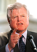 "Washington, DC - May 4, 2000 -- United States Senator Edward M. ""Ted"" Kennedy (Democrat of Massachusetts)  makes a statement on his teacher quality amendment to the Elementary and Secondary Education Act (ESEA) reauthorization at a Capitol Hill press conference on May 4, 2000. .Credit: Ron Sachs / CNP"