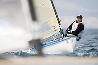 20140401, Palma de Mallorca, Spain: SOFIA TROPHY 2014 - 850 sailors from 50 countries compete at the ISAF Sailing World Cup event. Finn - USA69 - John F Dane. Photo: Mick Anderson/SAILINGPIX.