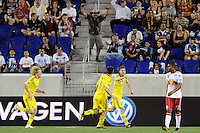 Eddie Gaven (12) of the Columbus Crew celebrates scoring the first goal of the game during a Major League Soccer (MLS) match against the New York Red Bulls at Red Bull Arena in Harrison, NJ, on May 20, 2010.