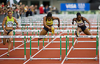 EUGENE, OR--From left, Lolo Jones, Virginia Powell, Michelle Perry, race in the women's 100m hurdles at the Steve Prefontaine Classic, Hayward Field, Eugene, OR. SUNDAY, JUNE 10, 2007. PHOTO © 2007 DON FERIA