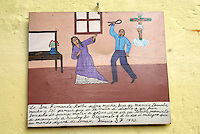 Mexican retablo or ex-voto showing domestic violence,  San Miguel de Allende, Mexico