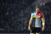 James Horwill of Harlequins looks on during a break in play. Aviva Premiership match, between Harlequins and Leicester Tigers on February 19, 2016 at the Twickenham Stoop in London, England. Photo by: Patrick Khachfe / JMP