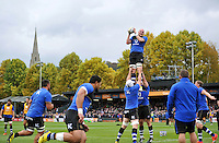 Matt Garvey of Bath Rugby wins the ball at a lineout during the pre-match warm-up. Aviva Premiership match, between Bath Rugby and Exeter Chiefs on October 17, 2015 at the Recreation Ground in Bath, England. Photo by: Patrick Khachfe / Onside Images