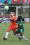 22 July 2009: Jen Buczkowski (left) of Sky Blue FC and Eniola Aluko (9) of Saint Louis Athletica battle for a loose ball.  Saint Louis Athletica defeated the visiting Sky Blue FC 1-0 in a regular season Women's Professional Soccer game at Anheuser-Busch Soccer Park, in Fenton, MO.
