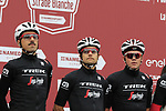 Trek-Segafredo team at sign on before the start of the 2017 Strade Bianche running 175km from Siena to Siena, Tuscany, Italy 4th March 2017.<br /> Picture: Eoin Clarke | Newsfile<br /> <br /> <br /> All photos usage must carry mandatory copyright credit (&copy; Newsfile | Eoin Clarke)