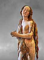 Painted plaster statue of Saint Mary Magdalene, circa 1515-1520, suspended from the vault of the church of St. Mary Magdalene Dominican convent of Augsburg. Inspired by an engraving of Albrecht Durer which depicted Mary Magdalene nude. Inv RF 1338,  The Louvre Museum, Paris.