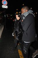 Kim Kardashian and Kanye West enjoy a romantic diner in Paris - France