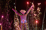 Aug. 30 2008 - Black Rock City, Nevada, USA - Fireworks light up the Man before the burn during the Burning Man arts and culture festival Saturday night, Aug. 30, 2008, in Black Rock City in the Black Rock Desert near Gerlach, Nev. (Credit Image: © David Calvert/ZUMA Press)
