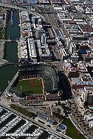aerial photograph AT&T Giants baseball park south beach marina CalTrain station San Francisco California