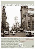 Motor Coaches and Streetcars on Market St at 4th St, Looking East | October 1, 1948 | Treasures from the Muni Archive