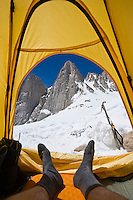 View from tent in winter campsite at Iceberg lake  (12,600 ft - 3850 m) on mountaineers route to east face of Mount Whitney, Sierra Nevada mountains, California