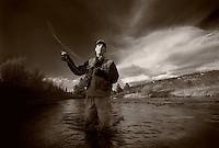 Pete Bender, photographed while fly fishing along the Little Truckee River near Lake Tahoe, California on Saturday, April 24 2009. Photograph by Darren Carroll.