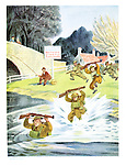 (Soldiers on manoevres run through a river where bathing is stricly forbidden)