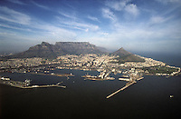Aerial photo of Cape Town, South Africa and Table Mountain in 2008.