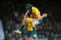 Dean Mumm of Australia celebrates his try with team-mate Scott Fardy. The Rugby Championship match between Argentina and Australia on October 8, 2016 at Twickenham Stadium in London, England. Photo by: Patrick Khachfe / Onside Images