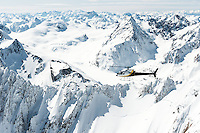 Winter north east views along Southern Alps with helicopter, Westland Tai Poutini National Park, West Coast, UNESCO World Heritage Area, New Zealand, NZ