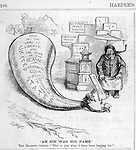 """Ah Sin was his name"" The Heathen Chinee. ""That is just what I have been longing for""   Chinese immigrant and equal rights and fair trade vs anti Chinese bill. Nast political cartoon on the 1879  Chinese race relations and 1877 riots Harper's Weekly March 8, 1879 politics, satire"