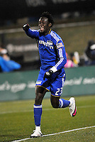 Kei Kamara celebrates his opening goal...Kansas City Wizards defeated DC United 4-0 in their season opener, at Community America Ballpark in Kansas City, Kansas.