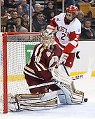 Thatcher Demko (BC - 30), Ahti Oksanen (BU - 2) - The Boston College Eagles defeated the Boston University Terriers 3-1 (EN) in their opening round game of the 2014 Beanpot on Monday, February 3, 2014, at TD Garden in Boston, Massachusetts.