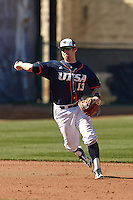 SAN ANTONIO, TX - FEBRUARY 15, 2014: The Saint Peter's University Peacocks versus the University of Texas at San Antonio Roadrunners Baseball at Roadrunner Field. (Photo by Jeff Huehn)
