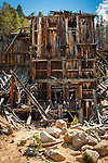 Old building and rubble near the Ruby mine shaft in Granite, MT